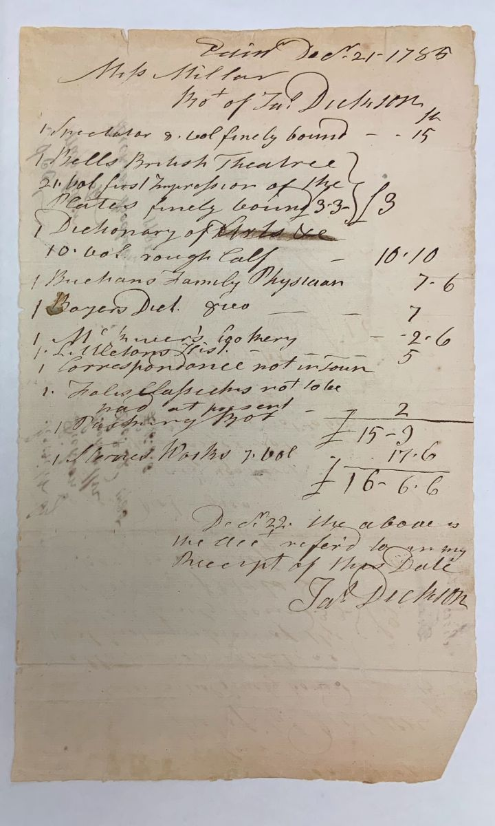 """A handwritten manuscript page listing expenses made by the Skipwiths. Included on this document is a copy of """"Dictionary of Arts"""" purchased."""