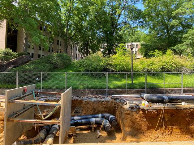 Ukrop Way Excavation below DuPont Hall, May 3, 2020