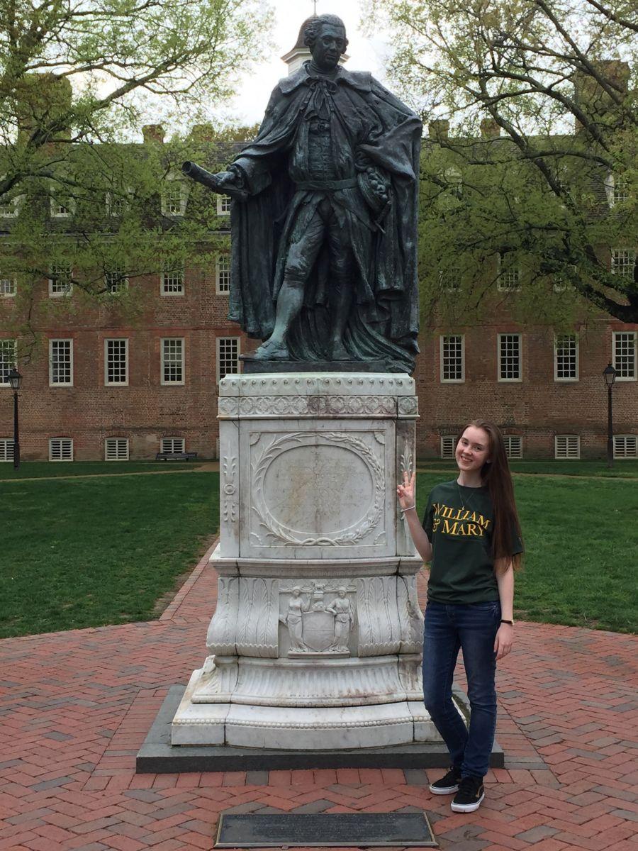 sarah with statue