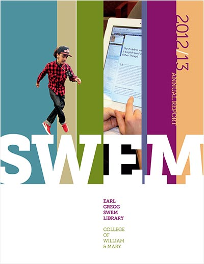Cover of 2012 to 2013 report with vertical stripes of color.