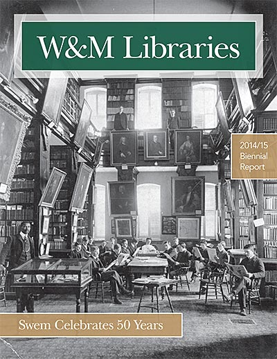 Cover of 2014 to 2015 report with photo of the first William & Mary library in the Wren building.