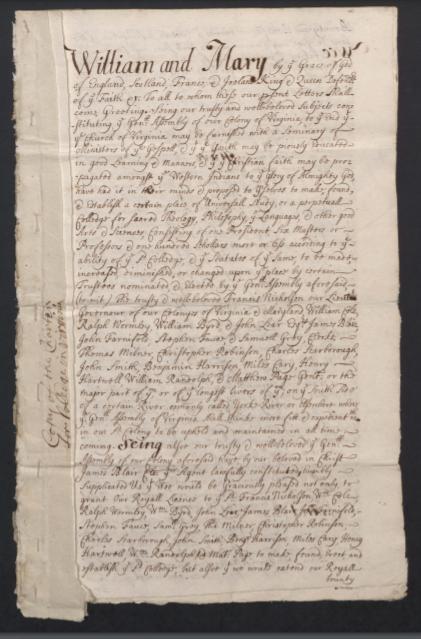 Royal Charter copy, 1693