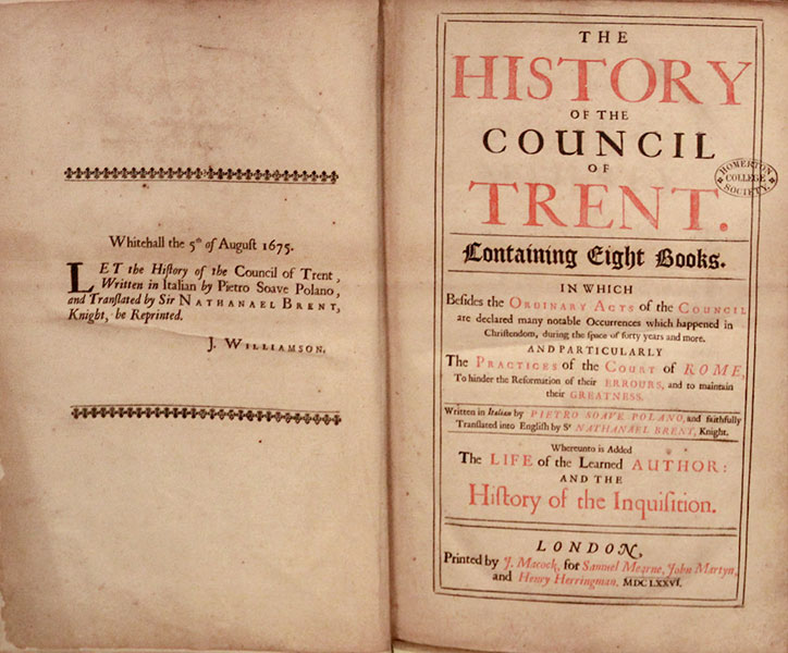 Title page of the History of the Council of Trent.