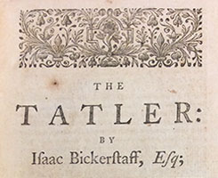 """Title page of the book """"The Tatler"""" with black and white floral flourish."""