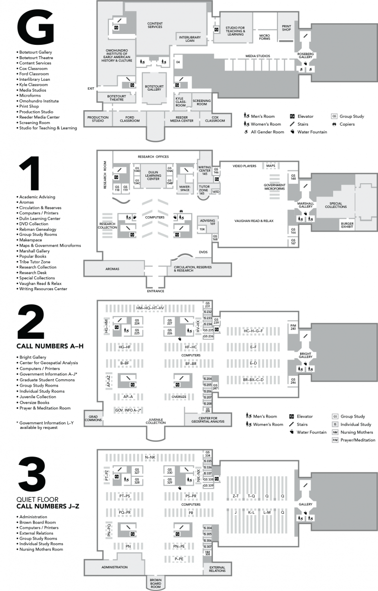 Floorplans of Swem Library showing the ground, first, second and third floors