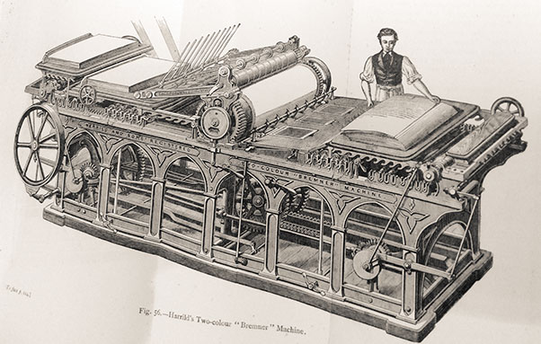 Black and white line drawing of person using a mechanical printing press.