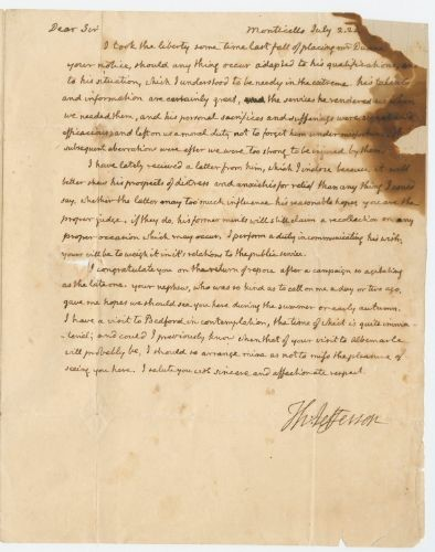 Letter from Thomas Jefferson to James Monroe