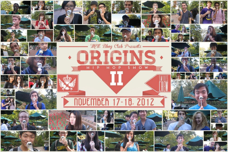 Flyer for Origins II show featuring photos of people holding mustache graphic over their face