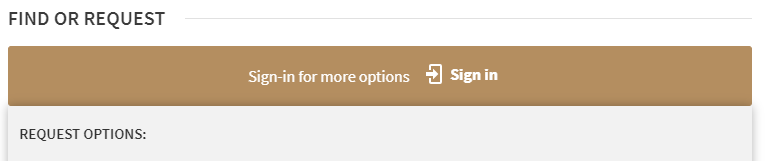 Gold bar with Sign In link in the Libraries Search Tool.