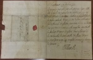 The letter written and signed by King William, showing the address on the left hand side.