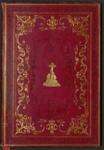 Full-bound in red morocco with gilt tooling, blind stamping, and gilt design.