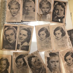 Cigarette cards featuring celebrities.