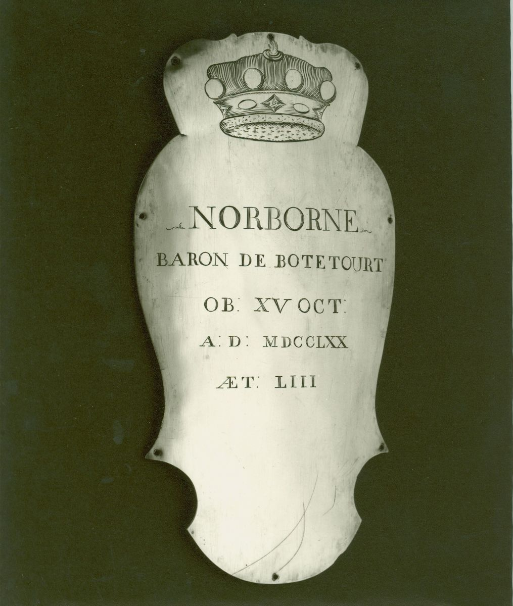 Lord Botetourt Coffin Plate, 1770