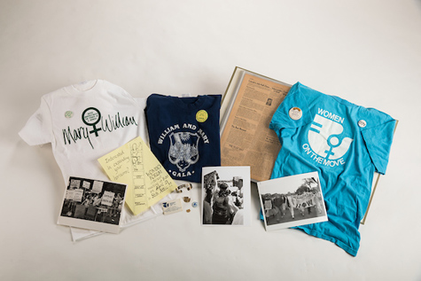 Images of feminist t-shirts and other social change materials