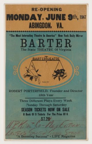 Poster of Barter Theatre reopening on Monday, June 9th, 1947