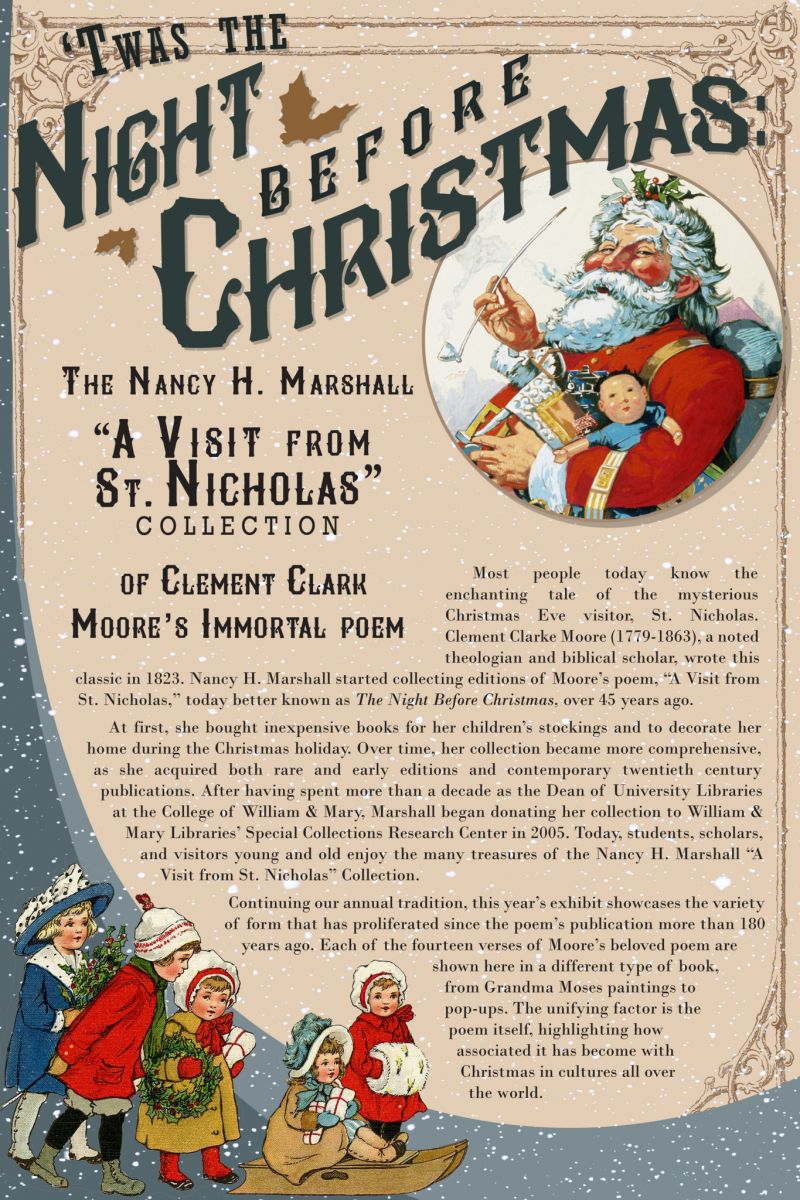 """Poster for Swem Library's annual exhibit of """"A Visit from St. Nicholas"""" books."""
