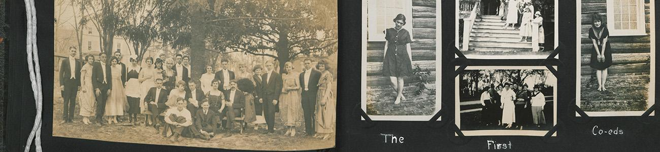 Personal scrapbook donated to Special Collections with photos of campus activities from the early 1900s