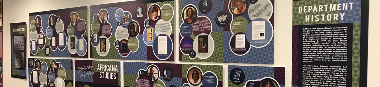 Exhibit of faculty scholarship in the African Studies Department at W&M.