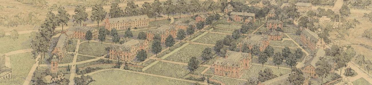 Color illustration of an overhead view of the building layout of W&M's old campus.