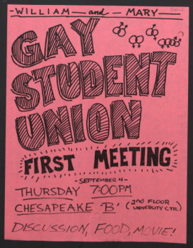Pink, handwritten flyer announcing the first meeting of the W&M Gay Student Union for the fall 1997 semester.