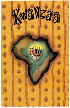 """Exterior and interior of a greeting card, which reads, """"Happy Kwanzaa"""" in gold text. A drawing of Africa (colored in shades of green and brown) is in the center of the card. Superimposed on the continent is a fully-lit Kinara."""