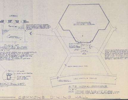 Sketch (1979) in blue ink of planned renovations to the Commons Dining Hall to meet physical accessibility considerations.