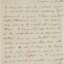 Handwritten letter from President John Tyler to H.B. Grigsby regarding Edward Joyner's proposal for W&M's Grammar School. Dated May 8, 1859 and sent from Sherwood Forest.