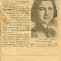 "Black-and-white headshot of Marilyn Kaemmerle '45, as she appeared in a newspaper clipping for an article titled ""Paper Barred."" The title of the newspaper is not included in this clipping."