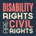 A sign that reads: Disability rights are human rights