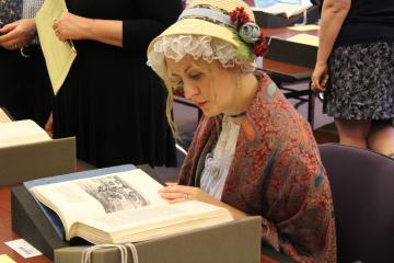 Woman looking at materials