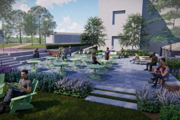 Artist rendering of the outdoor patio in front of Swem.