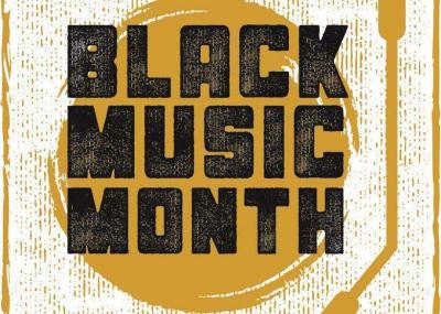 Illustration of record turntable with Black Music Month written on top.