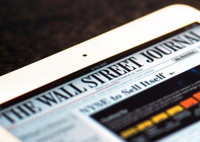 Photo of the front page of the Wall Street Journal newspaper