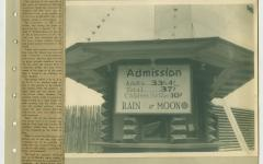 Admission sign at Stockade Theatre