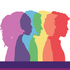 Illustration of people silhouetted in colors of the rainbow